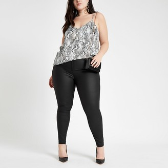 River Island Plus black coated Molly mid rise jeggings