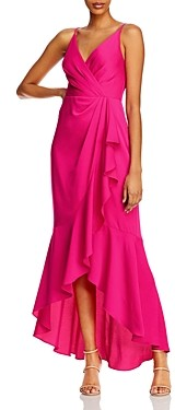 BCBGMAXAZRIA Satin Faux-Wrap Gown