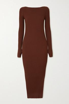 Totême Orville Ribbed-knit Midi Dress - Brown