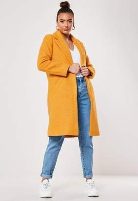 Missguided Mustard Boucle Slim Formal Coat