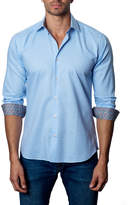 Jared Lang Gingham Sport Shirt w/ Contrast Cuffs, White/Blue