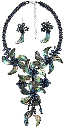 Aeravida Handmade Peacock Abalone Shell Floral Statement Jewelry Set