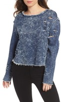 Love, Fire Women's Destroyed Denim Top