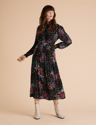Marks and Spencer Floral High Neck Midaxi Waisted Dress