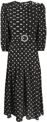Alessandra Rich Pleated Polka Dot Dress