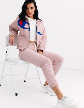 Champion reverse weave zip front track top with large logo co-ord-Pink