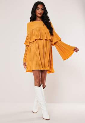 Missguided Mustard Pleated Layered Smock Dress