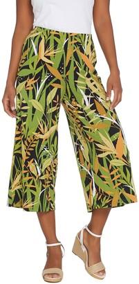 Bob Mackie Tropical Paradise Print Gaucho Knit Pants