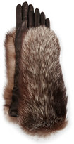 Gepa Gloves for Neiman Marcus Long Leather Fox-Trim Gloves, Black/Silver Fox