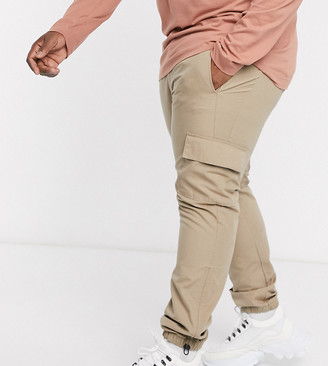 ASOS DESIGN Plus slim cargo trousers with toggle hem in stone ripstop