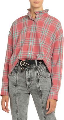 Etoile Isabel Marant Ilaria Plaid Frilled-Collar Shirt