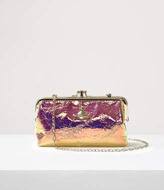 Vivienne Westwood Archive Orb Double Frame Purse With Chain Gold