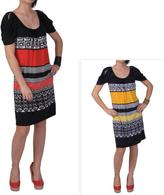 Sangria Women's Patterned Cut-out Sleeve Knee-length Dress
