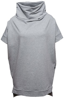 Non+ Non206 Grey Short Sleeve Sweater/Dress With Cowl-Neck