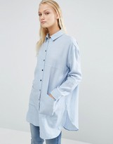 Asos Longline Oversized Twill Shirt with Contrast Buttons
