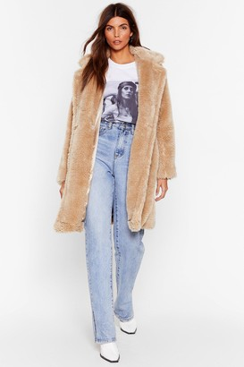 Nasty Gal Womens Waiting Fur Tonight Faux Fur Longline Coat - Beige - L, Beige