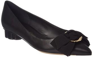 Salvatore Ferragamo Peony Bow Leather Ballet Flat