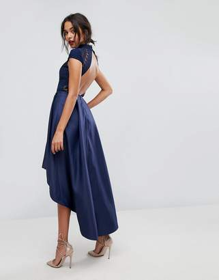 Chi Chi London High Low Midi Prom Dress With Open Back-Navy