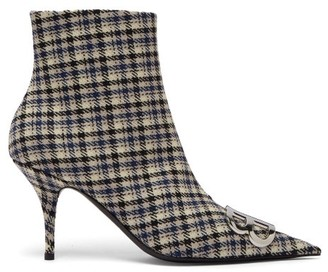 Balenciaga Logo-embellished Checked Ankle Boots - Womens - Black Blue