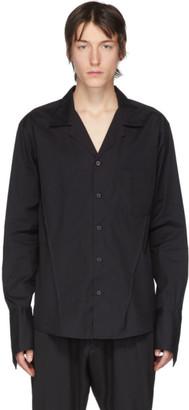 Sulvam Black Poplin Open Collar Shirt