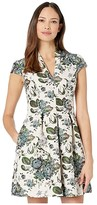 Vince Camuto Jacquard Fit-and-Flare Dress w/ Cap Sleeve (Ivory Multi) Women's Dress