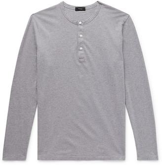 Theory Melange Cotton-Jersey Henley T-Shirt
