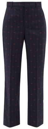 Gucci GG-jacquard Wool Straight-leg Trousers - Blue Multi
