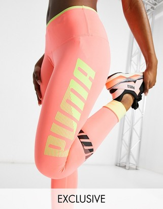 Puma Training modern sport leggings in peach with vertical logo