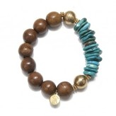 Wendy Mink Turquoise Wood Stretch Bracelet