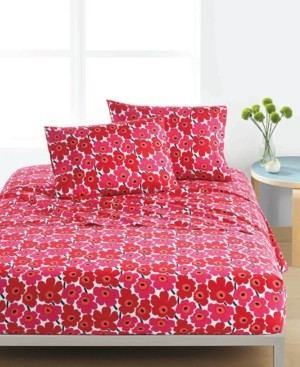 Marimekko Mini Unikko Cotton 200-Thread Count 4-Pc. Red Floral Full Sheet Set Bedding