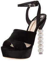 Sophia Webster Natalia Velvet Sphere-Heel Platform Sandal