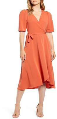 Bobeau Liv Puff Sleeve Wrap Dress
