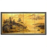 Oriental Furniture Best Large Size Asian Art and Decor 36 by 72-Inch Window on World Classic Gold Leaf Wall Screen Painting