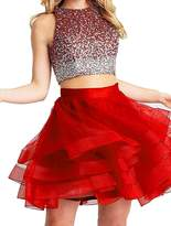 Lava-ring Women's Two Piece Short Beading Dress Above-Knee Length Prom Party Gown
