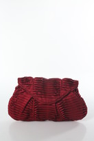 Lauren Merkin Ruby Red Satin Pleated Fold Over Envelope Clutch