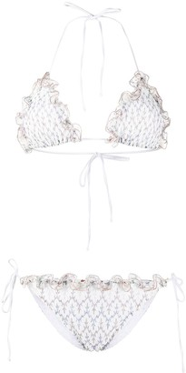 Missoni Mare Signature Leaf Embroidered Bikini With Ruffle Detail