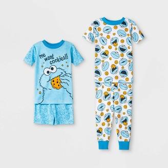 Sesame Street Toddler Boys' 4pc Cookie Monster South Pajama Set -