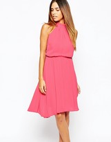 Warehouse Strap Back Halterneck Dress