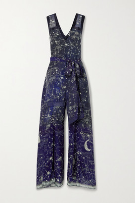 Camilla Belted Satin-trimmed Printed Silk Crepe De Chine Jumpsuit - Midnight blue