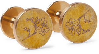 Alice Made This - Freesia Engraved Brass Cufflinks - Men - Gold