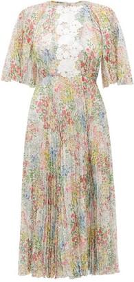 Giambattista Valli Pleated Wildflower-print Silk Midi Dress - Womens - Ivory Multi