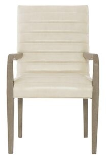Bernhardt Mosaic Leather Upholstered Arm Chair in Light Gray (Set of 2