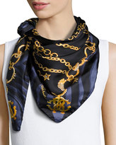 Roberto Cavalli Chain-Print Silk Scarf, Blue