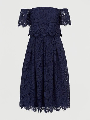 Very All Over Lace Bardot Prom Dress - Navy