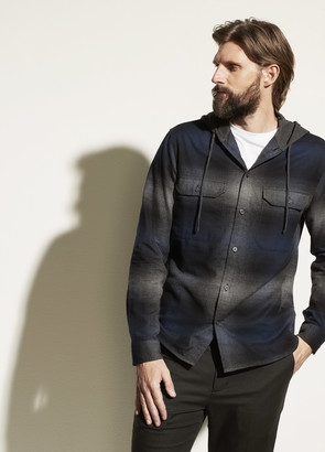Vince Ombre Plaid Hooded Overshirt