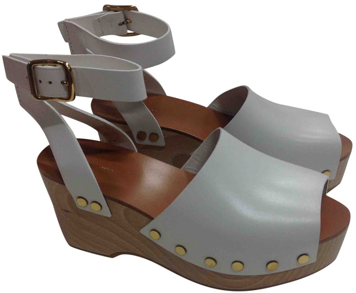 Celine White Leather Mules \u0026 Clogs