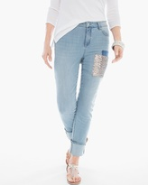 Chico's Sequin Patched Cuffed Jeans