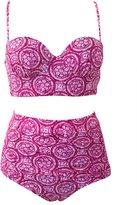 Qiaoer Womens Plus Size Vintage Push up Halter High Waisted Bikini Swimsuit Set (L, )