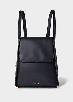Women's Navy Leather Flap Backpack With 'Swirl' Trims