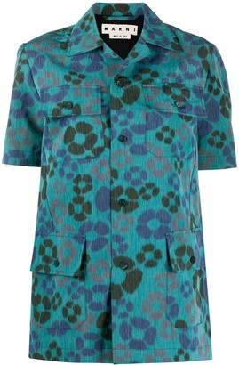 Marni floral print four pocket shirt